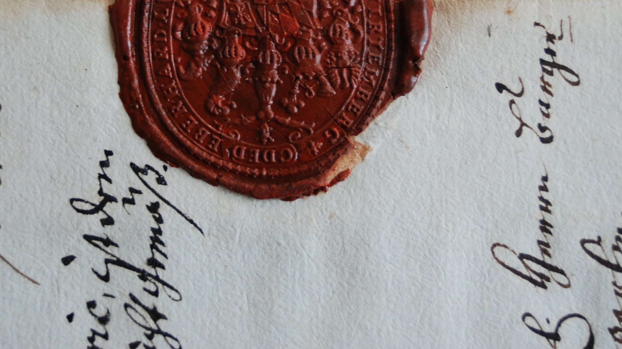 Old document with red wax seal